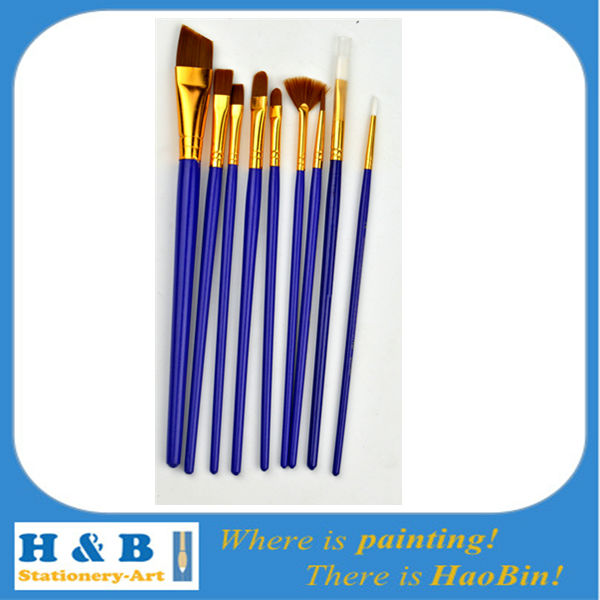 10pc brown nylon oil painting brushes
