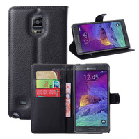 Hot Selling Ultra Thin Lichee PU Leather Case Wallet Folio Flip Cover for Samsung GALAXY Note 4