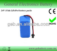 Deep cycle high quality 24V 15AH LiFePO4 Battery Pack