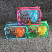Colorful print Small travel pouch clear PVC plastic cosmetic bag