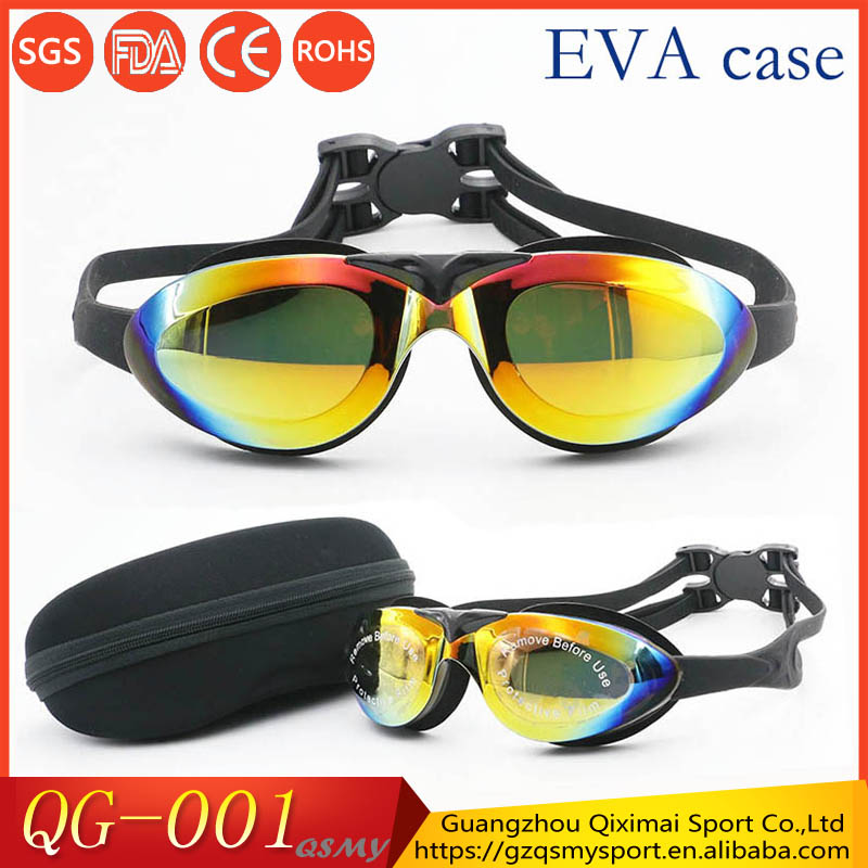 Hot sale unisex100%UV mirror lenses watertight advanced swim goggles with EVA case