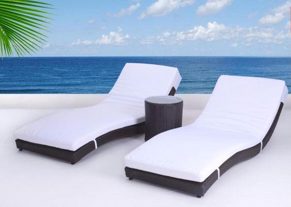 TX-D281 3pcs--Outdoor sun loungers used hotel pool furniture beach furniture