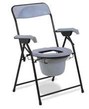 Hot sell economical folding invalid commode chair with backrest and steel frame