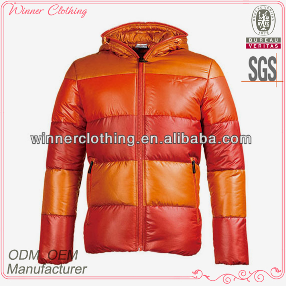 Top Fashion Candy Color Striped Puffy Winter Wear Korean Style Coat Men
