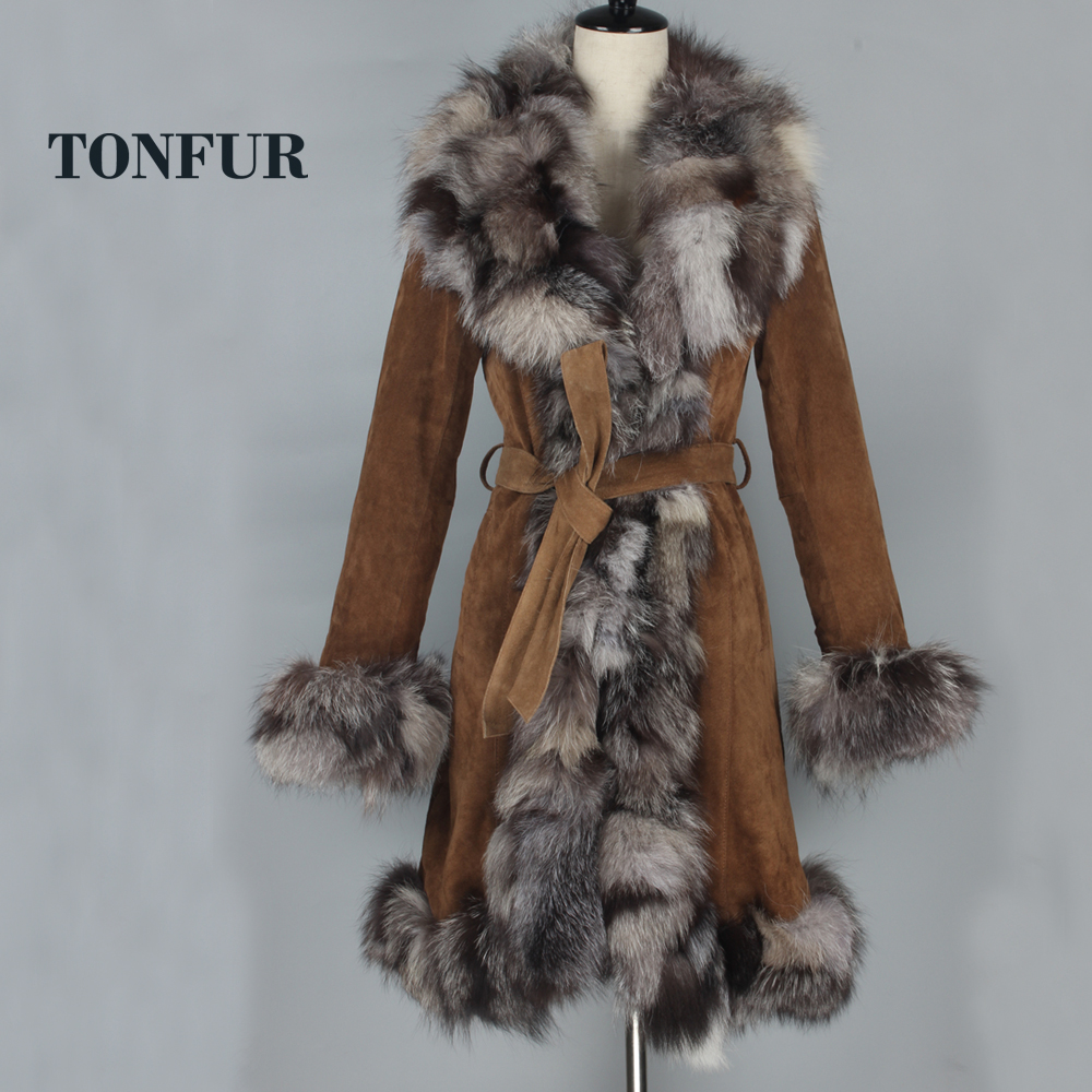 Fashion Thick Warm Winter Long Coat True Pig Leather Overcoat with Real Fox Fur Collar Luxury OEM Design Fur Jacket