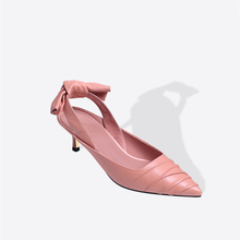 Ladies Pink color cow leather pumps high heels dress shoes