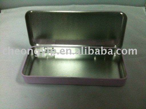 pencil box metal case with hinge pen tin box