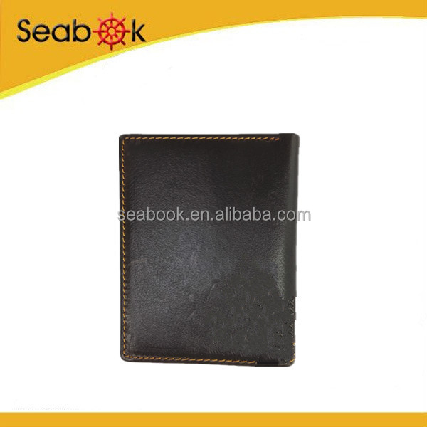 black Bifold Slim Men Genuine Leather Wallet With Flap