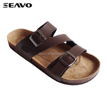 SEAVO SS18 fashion the most popular beach wooden sole PU cool men cork sandals brown