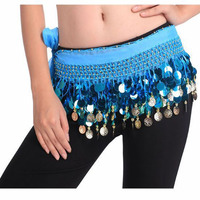 2016 Wholesale Colorful Sexy Belly Dance Hip Scarf Cheap Belly Dancing Coin Belts Various Colors
