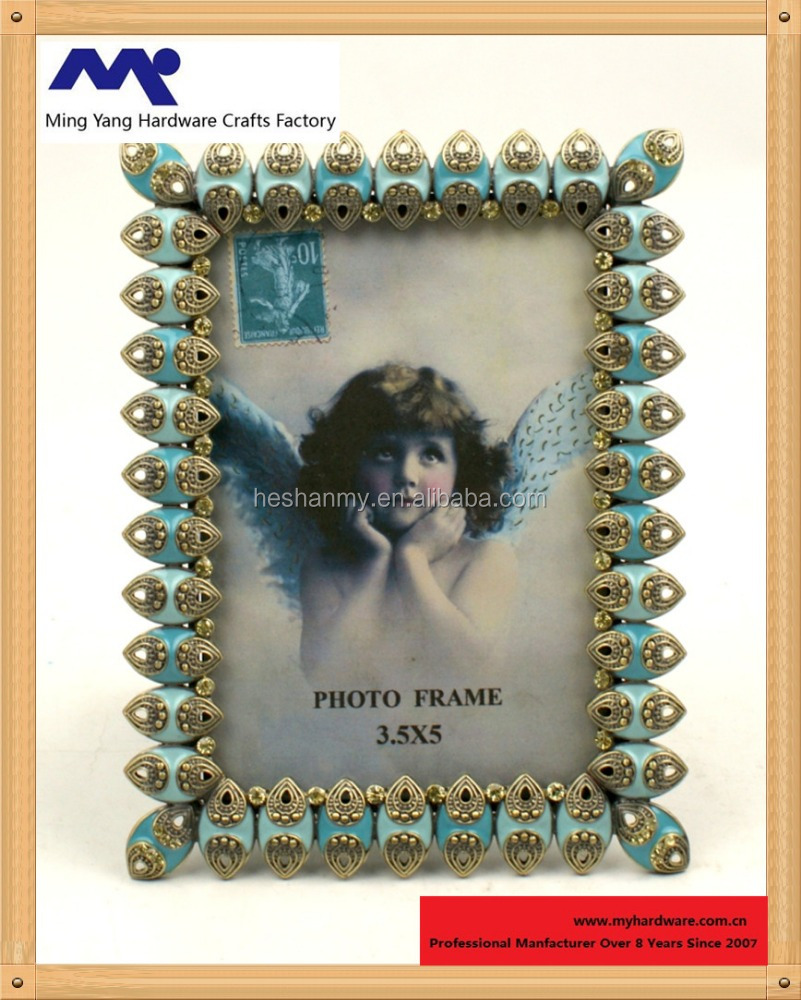 Metal Frame with Turquoise Diamond Shaped Jewels 4 by 6-Inch