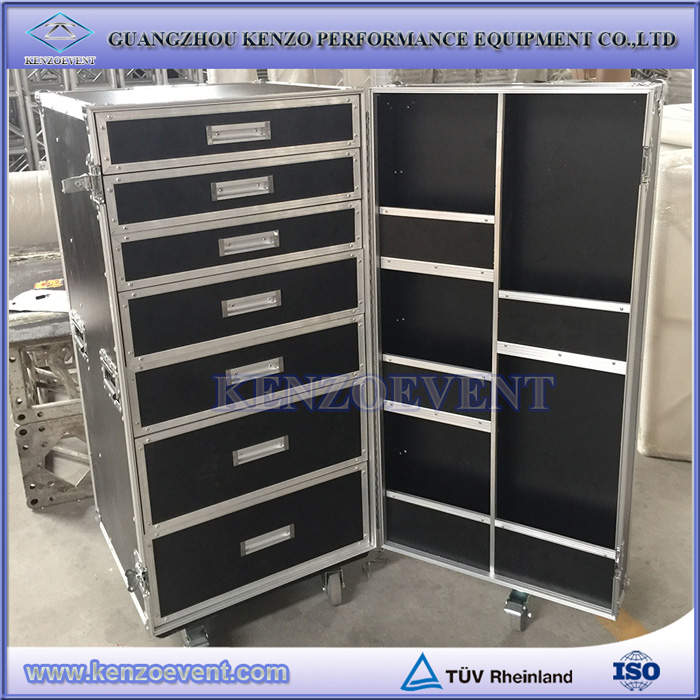 custom aluminum durable heavy duty flight case with drawers