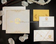 Exclusive & luxury hard cover embossed wedding invitations with pocket wholesale