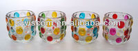 Round glass candle cup holder with hand painting CA816-H1234