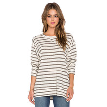 Bulk long sleeve black white stripe 180 gsm 100 combed cotton t shirts