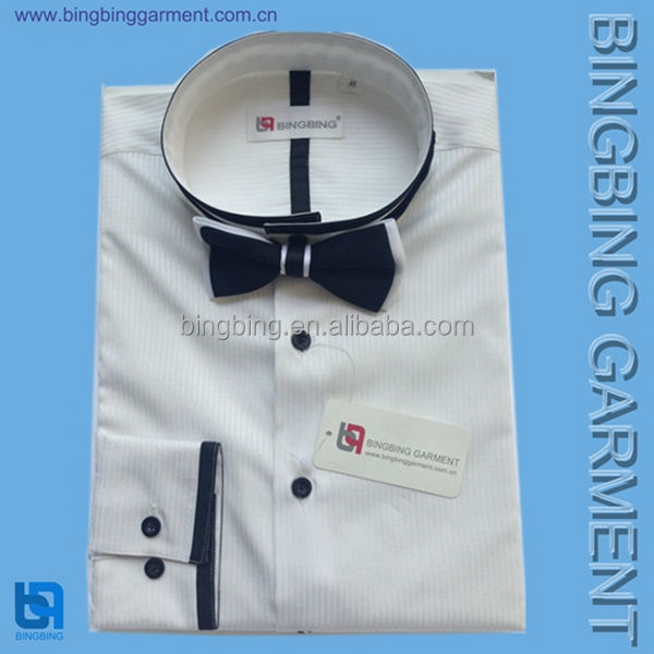 2014 Silk Band Collar Wholesale Men's Dress Shirt With Bow Tie