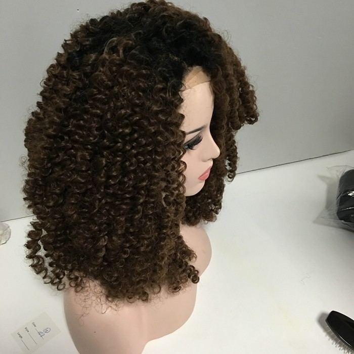 Wholesale cheap synthetic hair wigs heat resistant fiber afro kinky curl lace front wig