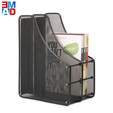 Desktop black metal wire 2-Tier file tray mesh paper file office stand book holder