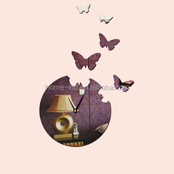 A9002 Butterfly Mirror Sticker Large DIY 3D Wall Clock Home Decor
