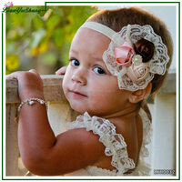 New design roses buds lace baby headband headdress elastic custom headband