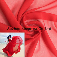 100%polyester dyed silk bubble chiffon georgette fabric for women dress