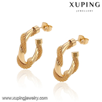 91561 fashion hinge shped earrings 18K gold jewelry earring women opening shped earrings jewellery