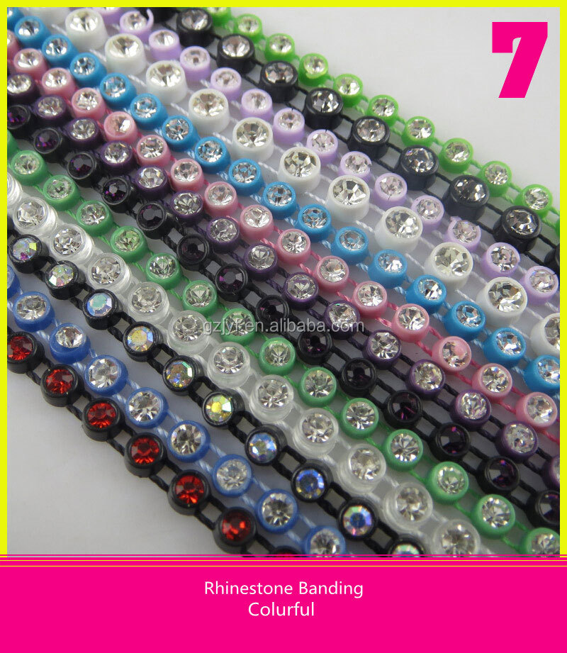 Wholesale Garment Accessory SS10 3mm Plastic Multi Colors Rhinestone Banding