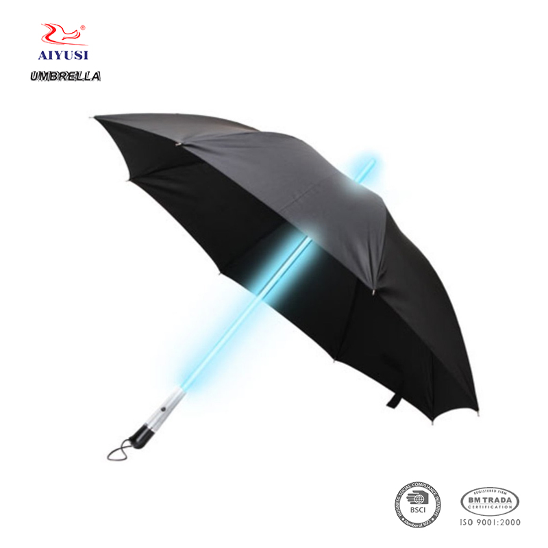 Christmas promotional black handle led light umbrella
