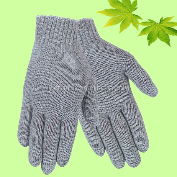 2016 new fashion protective cotton knitted gloves grey color