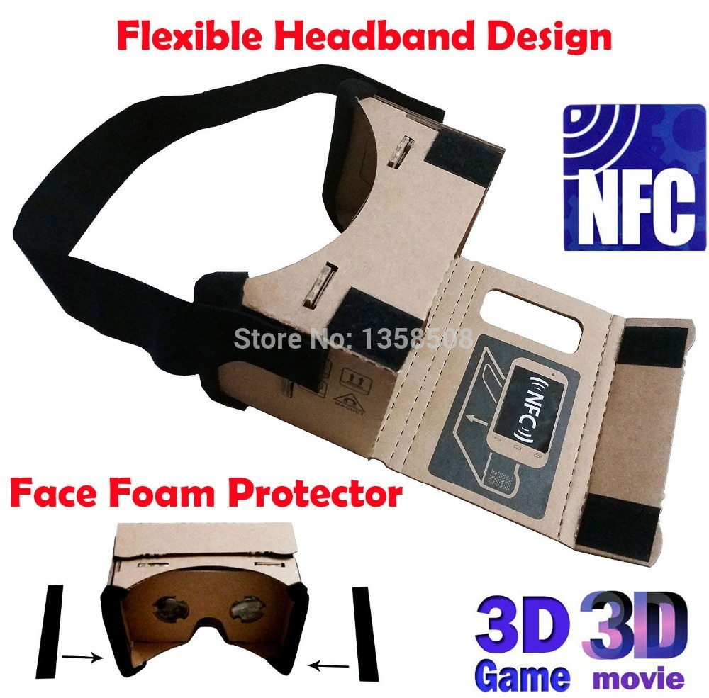 "2016 Head Mount Google Cardboard 3D Glasses Vr Toolkit with NFC TAG and Face Protector For 3.6"" - 6"" Smart Phone in stock"