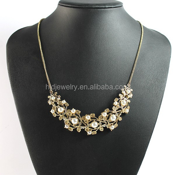 Wholesale pearl jewelry pearl crystal leaf branch necklace