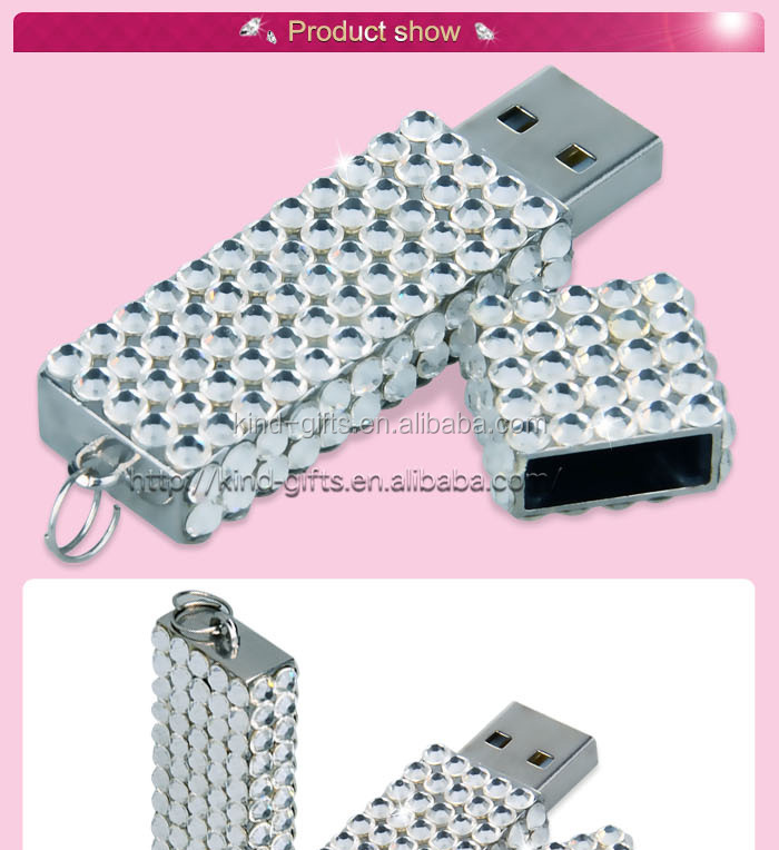 8gb Crystal Lipstick Case Jewelry USB Flash Memory Drive Necklace