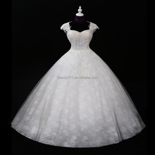 2017 new design real picture ball gown wedding dress for fat women Classic Appliques Sequin Wedding Dress F11601