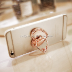 Luxury love heart shape diamond metal ring phone holder /tablet bracket