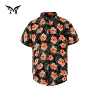 New style ready made popular male short sleeve summer printed 100% rayon hawaiian beach shirt