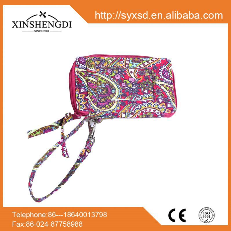 Hot selling cotton fancy quilted trendy zip cell phone sling bag