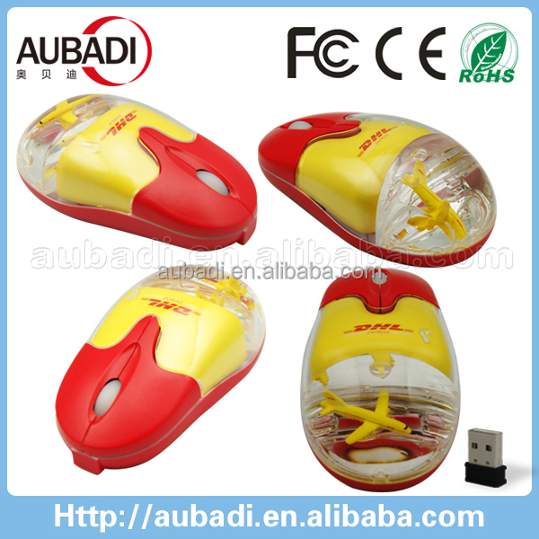 Hot selling promote gifts 2.4Ghz wireless liquid aqua computer mouse with 3D floating element