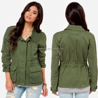 Factory oem supplier fashion new design women military jacket