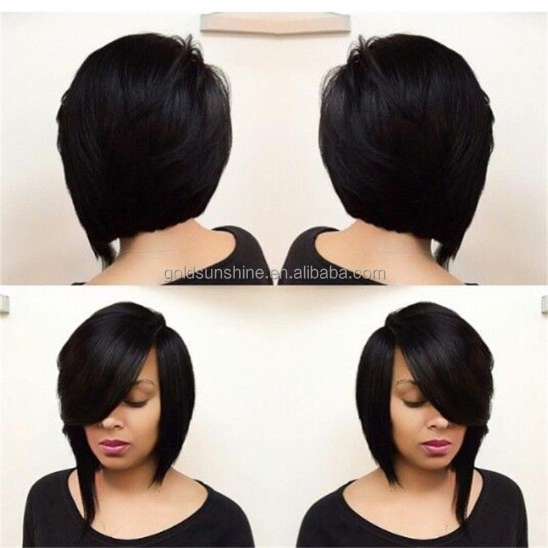 Hair Wigs Short Bob Wigs With Side Bangs U Part Wig For Black Women ...