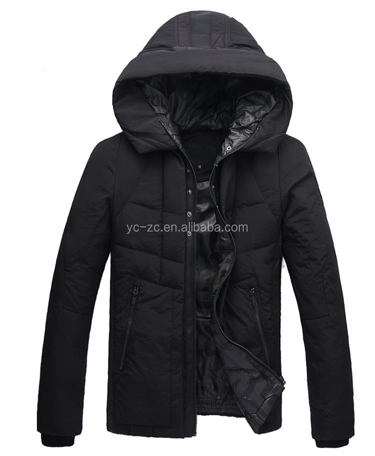 2015 padded hoody Men winter jacket wholesale 90% down 10% feather jacket