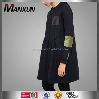 China Suppliers OEM Service With Wholesale Price Black Stitching Coat Girl's Wear Europe Loose Tops