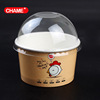Customize 200ml Paper frozen yogurt Ice Cream Cup with Spoon lid