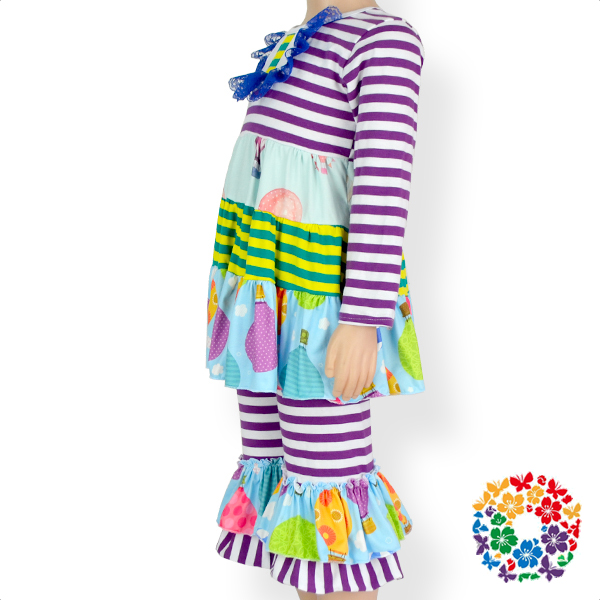 New Arrival Cute Fall And Winter Long Sleeve Remake Clothes Set Ruffle And Stripe Girls Boutique Outfits