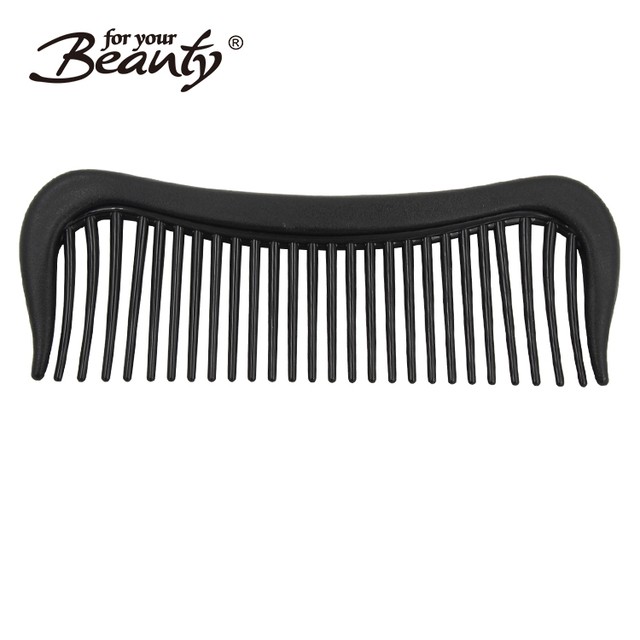 Hair salon plastic black color 6 Inch bearded shaped detangling comb
