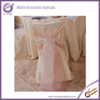 2014 Hot design organza lace chair sashes tie backs and chair cover wedding bows