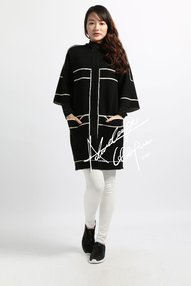 new design high quality long knitted sweater women cardigan