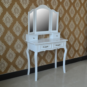 cheap european style home furniture wooden dresser with 4 drawers,french style dressing table with 3 mirrors