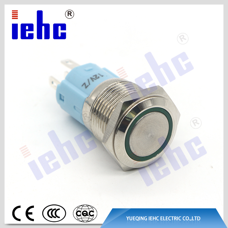 YHJ16-261 16mm 5A 250V 5 pin ring led illuminated Momentary / latching waterproof metal push button switch