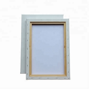 blank stretched painting canvas with wooden frame for acrylic paints