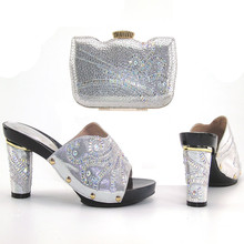 high quality Matching Shoes and Bag Silver wedding stones shoes and bag set